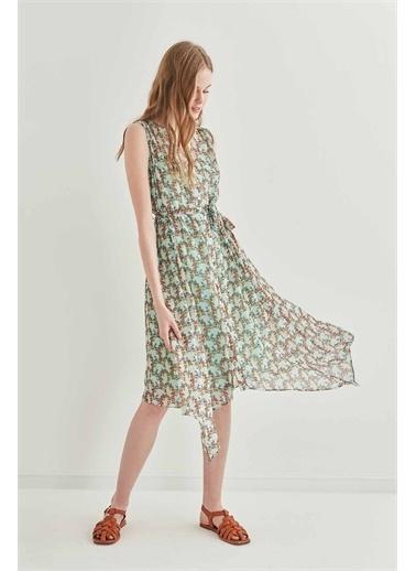 Vitrin VİTRİN Sıfır Kol Belden Bağcıklı Elbise Yeşil